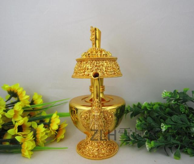 藏傳佛教用品 鎏金賁奔巴壺 凈水壺 文巴壺盛水寶瓶 凈瓶 供水杯