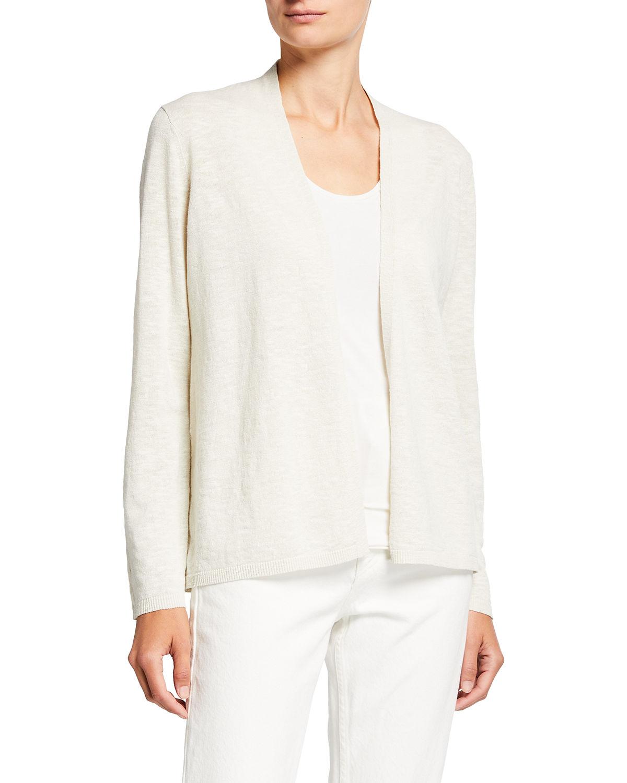 Organic Linen-Cotton Basic Slub Cardigan