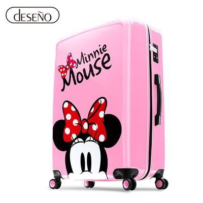 Disney 米奇奇幻之旅 20吋PC鏡面拉鍊行李箱-櫻花粉