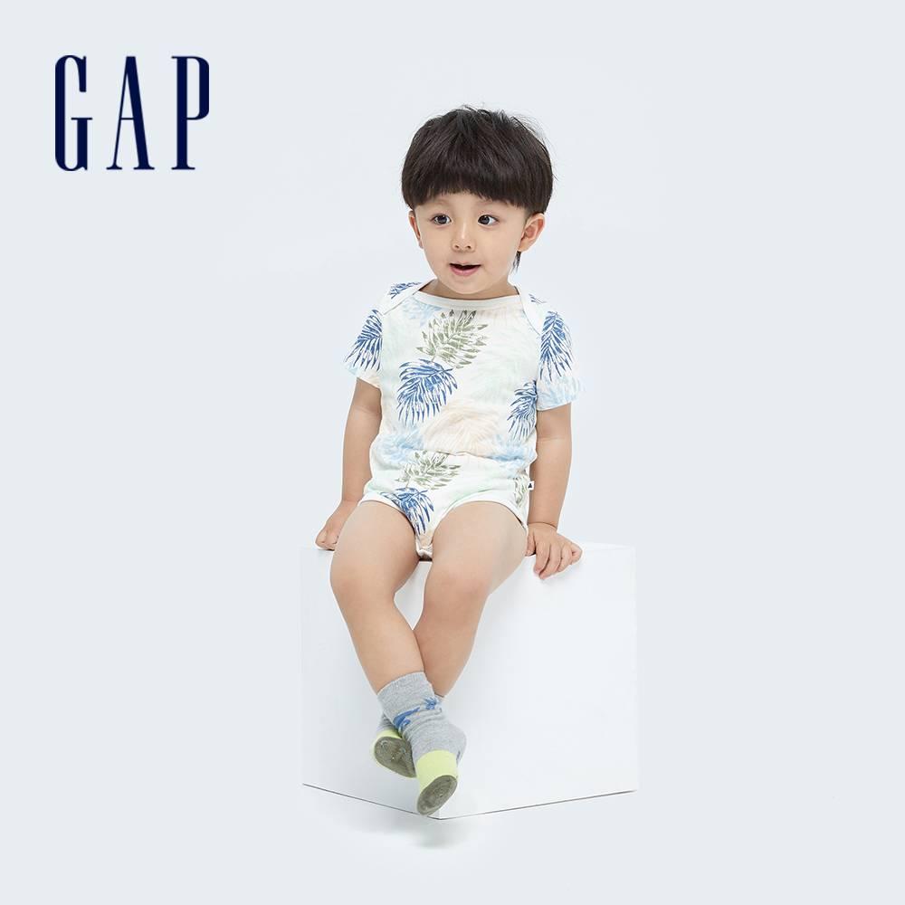Gap 嬰兒 純棉紮染短袖包屁衣 734846-棕櫚樹圖案