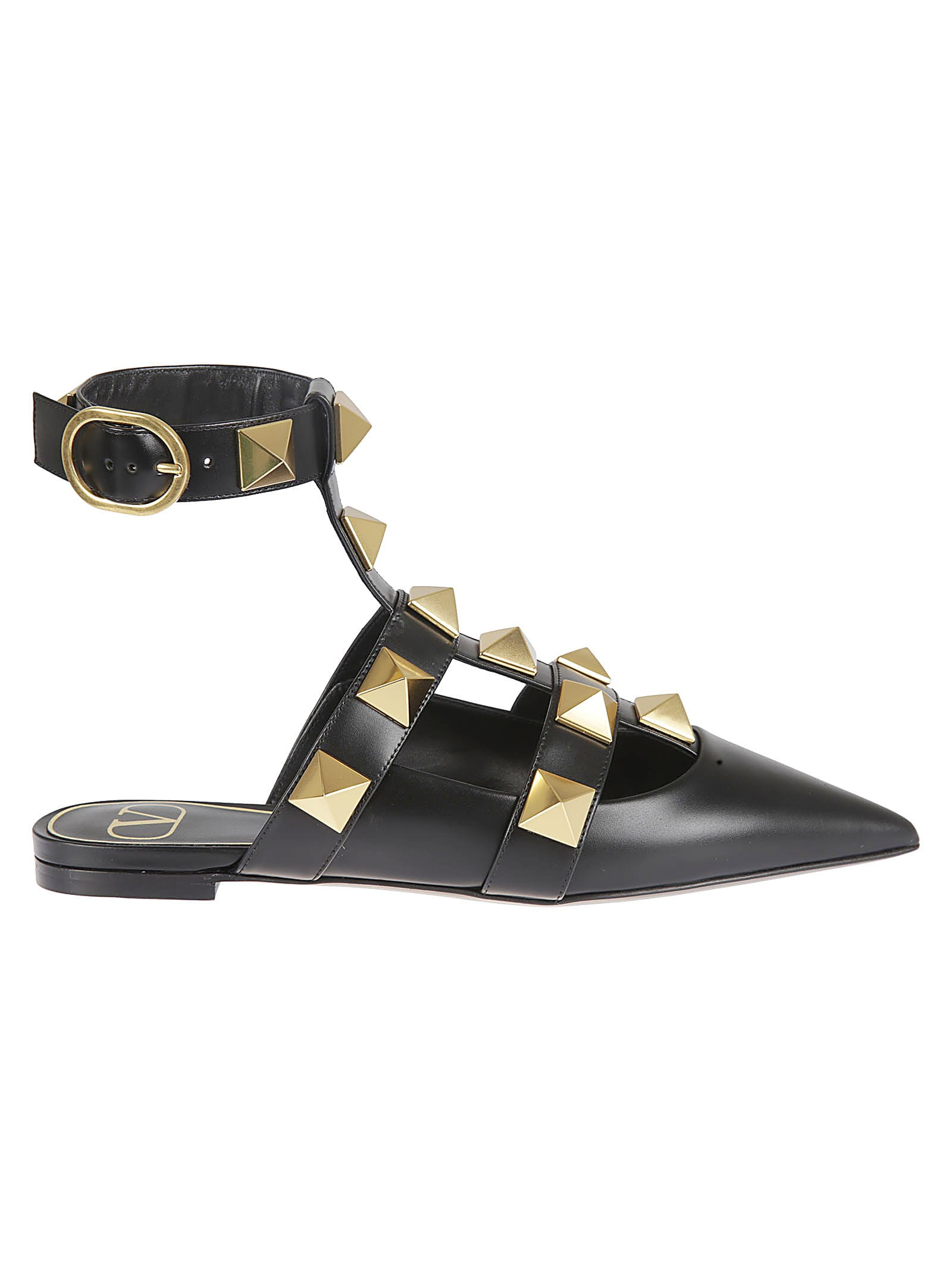 Valentino Garavani Pyramid Studded Side Buckle Ballerinas