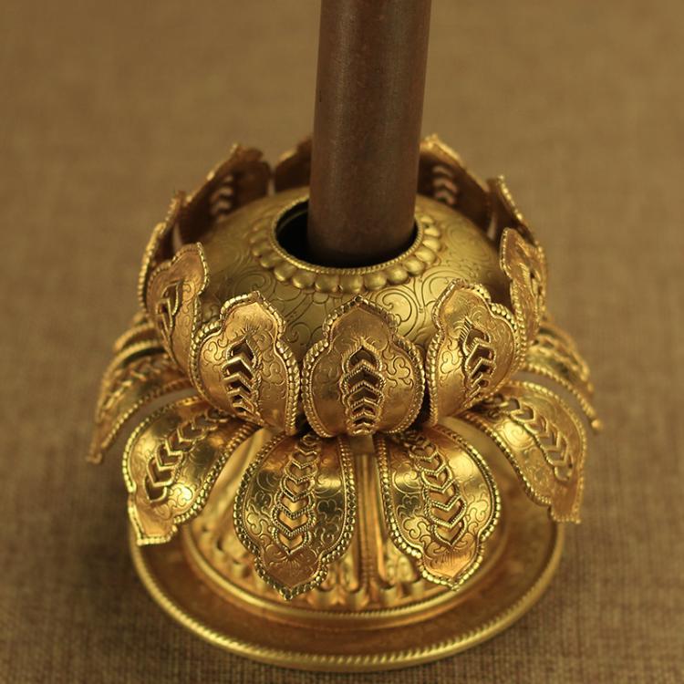 佛教純銅手搖轉經輪 蓮花底座藏傳法器佛教用品 蓮花雙層底座 3cm