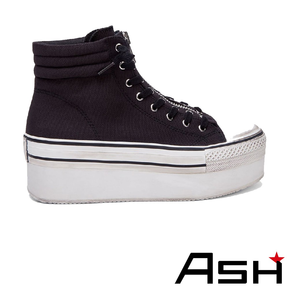 ASH JAGGER 個性拉鍊高筒刷舊帆布鞋-黑