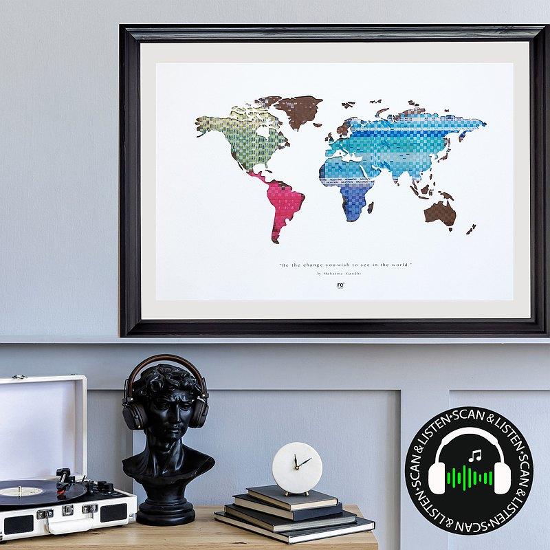螢光系列世界地圖 | 彩虹卡帶末端編織 | 附掃碼聽太空漫遊歌曲