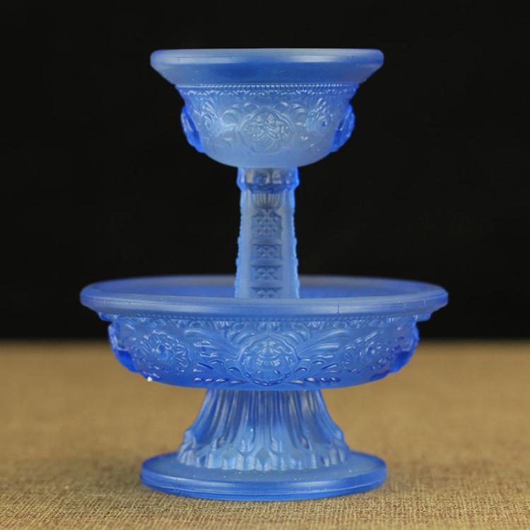 藏傳佛教用品 密宗修行法器供杯琉璃八吉祥護法杯 供水杯 藍色