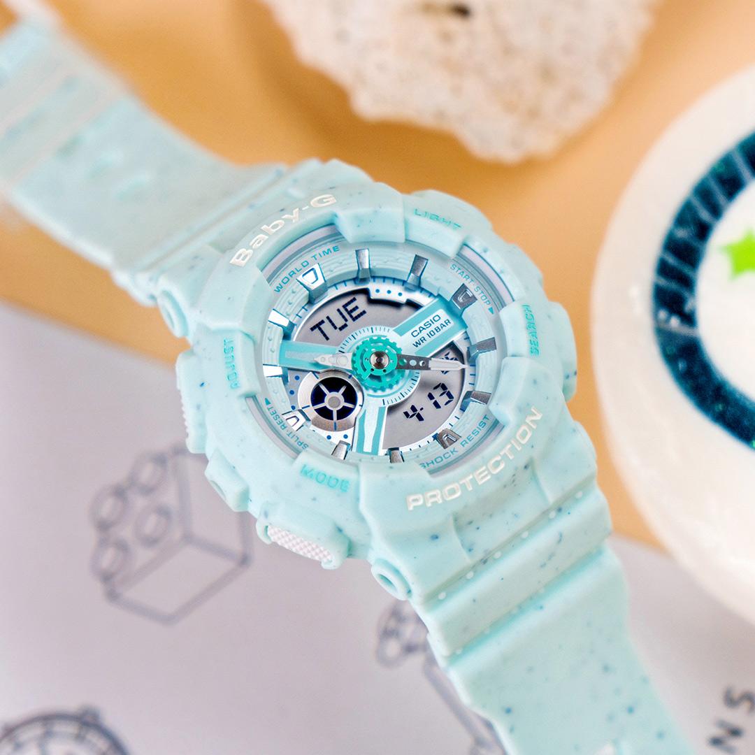 【下單抽・西堤雙人餐】新作! 現貨 BABY-G BA-110PI-2A 薄荷冰淇淋運動雙顯橡膠腕錶/綠 BA-110PI-2ADR 樹脂錶帶 世界時間 計時碼錶 自動月曆 手錶 熱賣中!