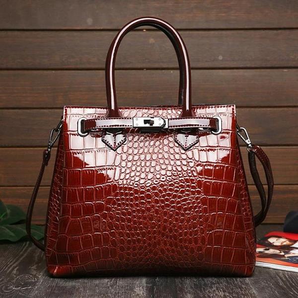 提包跨境鱷魚紋大包時尚鎖扣單肩斜挎公文包亮面歐美大容量多功能「時尚彩紅屋」