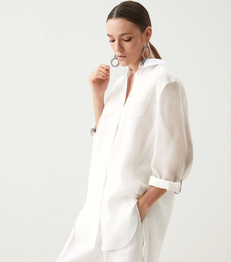 Brunello Cucinelli Organza-Sleeve Shirt