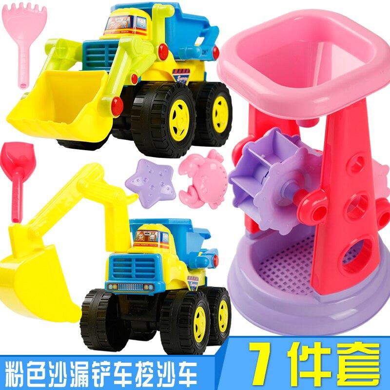 沙灘玩具 兒童沙灘玩具套裝決明子挖沙挖掘機工程車沙子戲水鏟子工具T