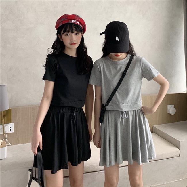 FOFU-棉小個子時尚設計款兩件套裝夏季短袖+裙子套裝【08SG07016】