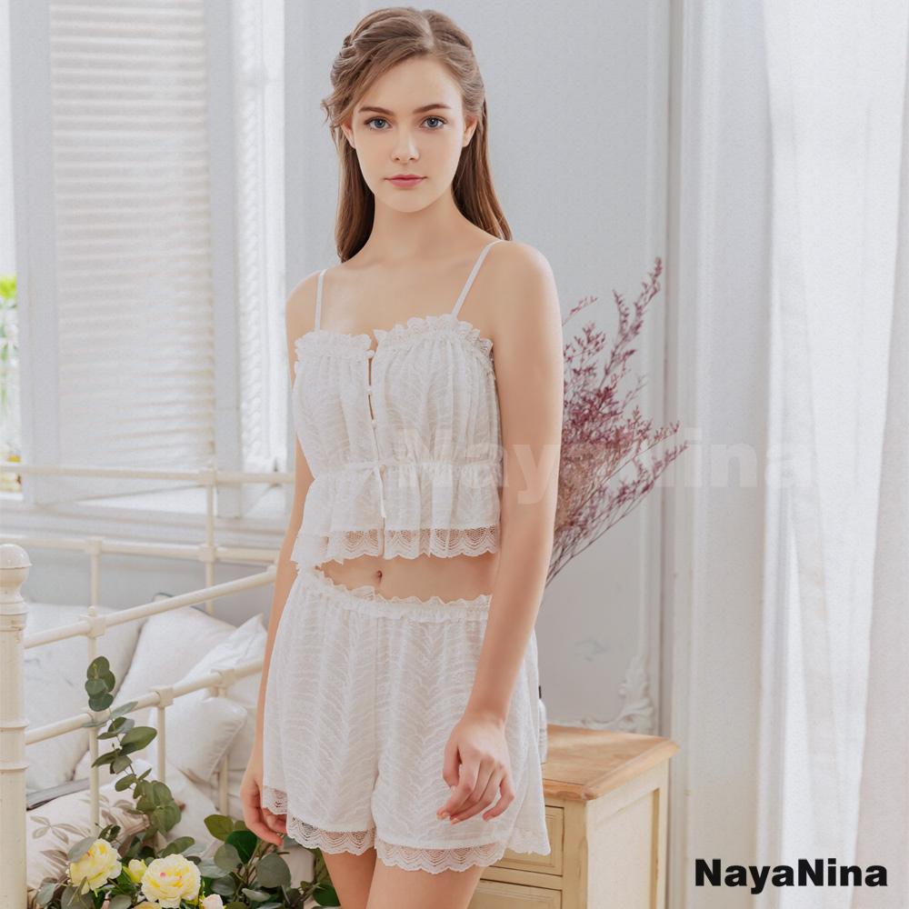 【Naya Nina】夢幻雕花蕾絲純白小可愛二件式衣短褲套裝居家睡衣