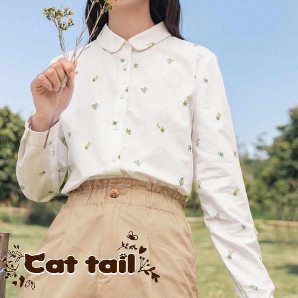 《貓尾巴》MA-0045 小清新牛津紡純棉印花短袖襯衫(森林系 日系 棉麻 文青 清新)