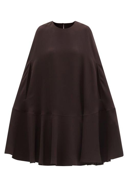 Valentino - Silk-cady Cape Dress - Womens - Dark Brown