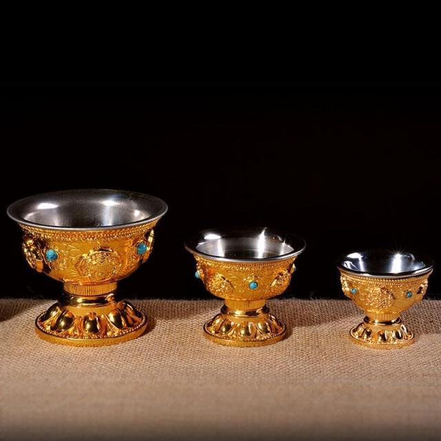 佛教用品 尼泊爾工藝 合金鎏金八吉祥八供杯八供碗 供水杯 單個