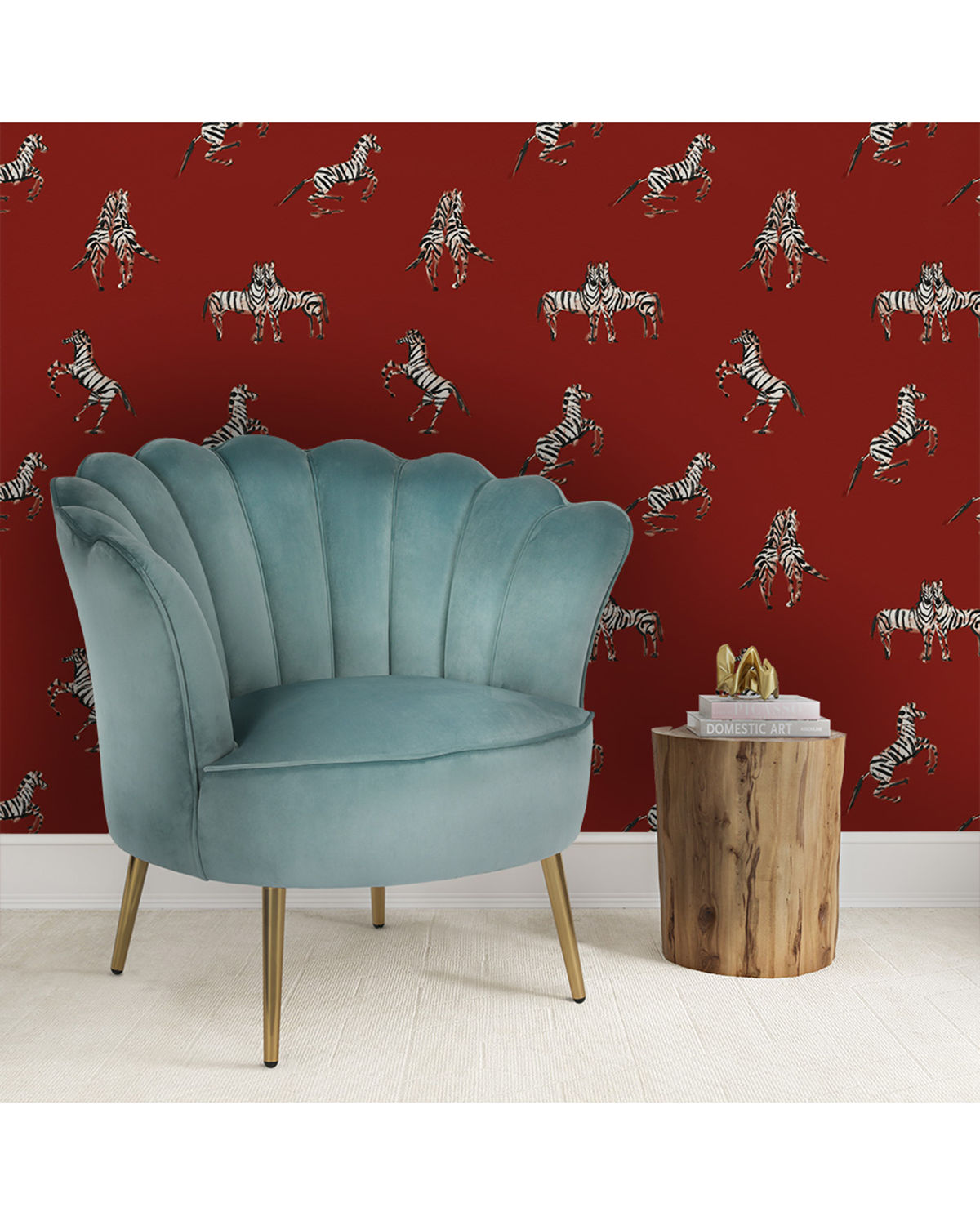 Zebras In Love Removable Wallpaper