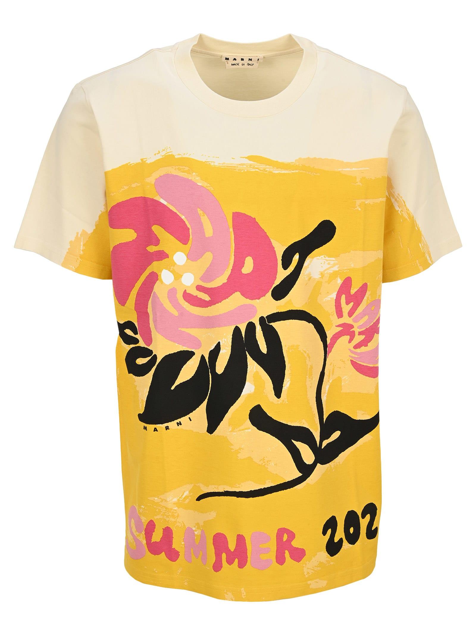 Floral-painting Cotton T-shirt