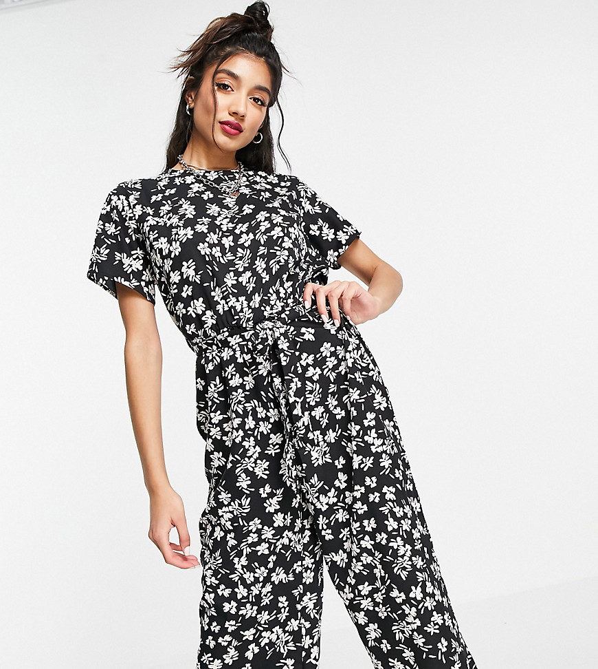 Wednesday's Girl relaxed belted jumpsuit in delicate floral-Black
