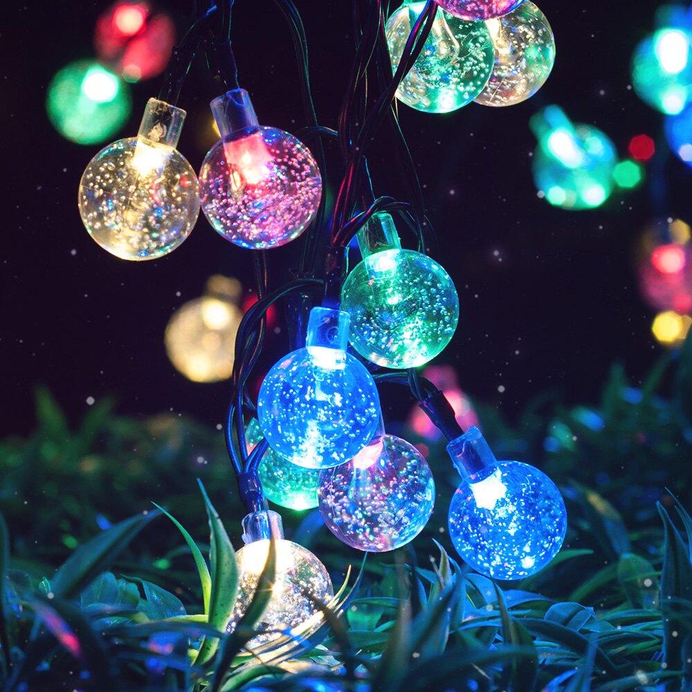 太陽能球形燈串戶外LED防水花園庭院裝飾氣泡七彩閃燈串節日燈帶