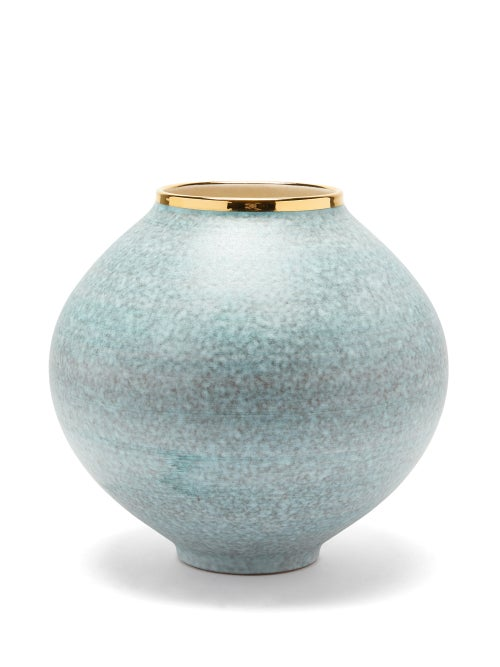 Aerin - Calinda Moon 10kt Gilded Ceramic Vase - Blue Gold