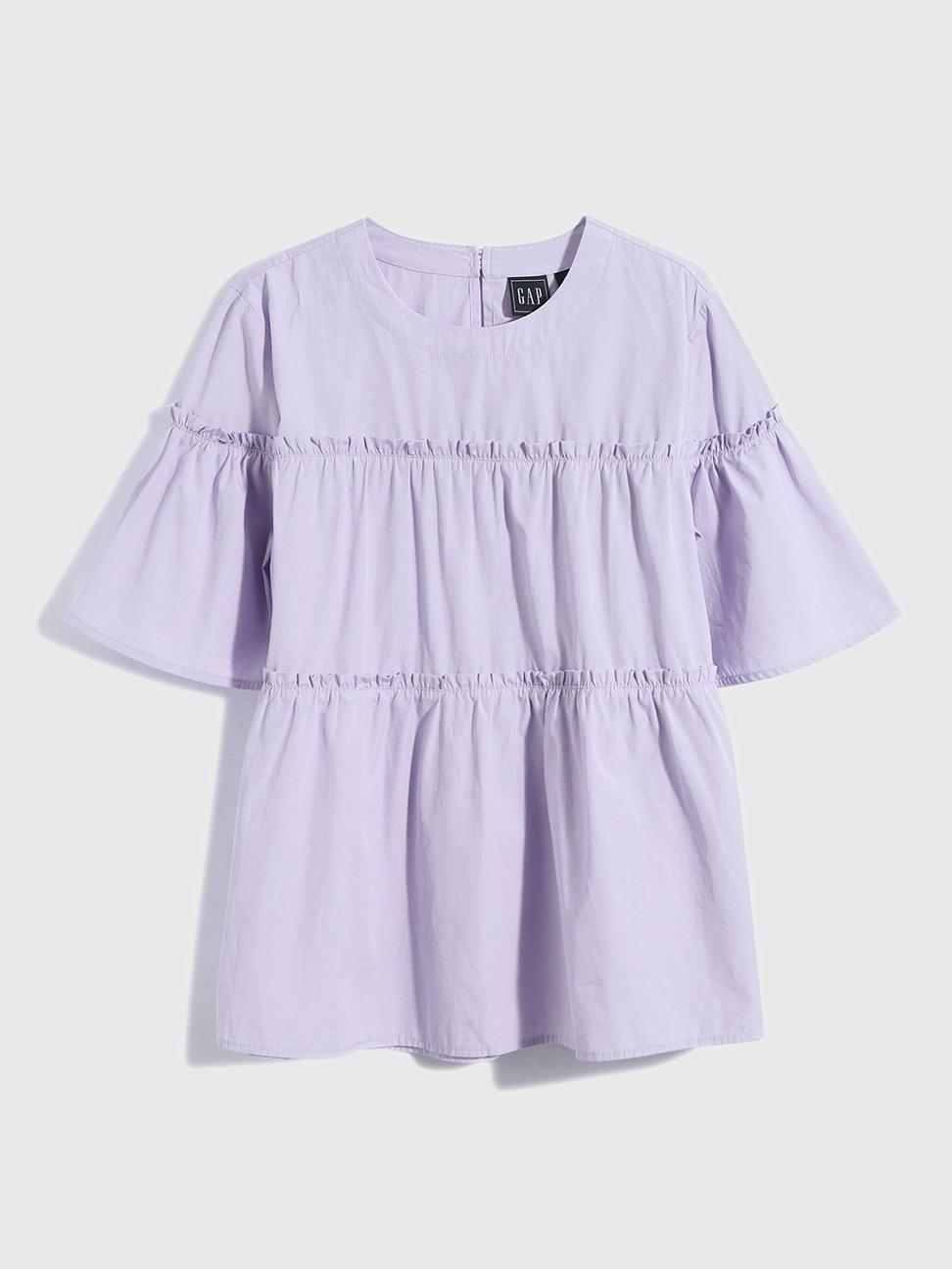 女裝 純棉寬鬆圓領短袖襯衫