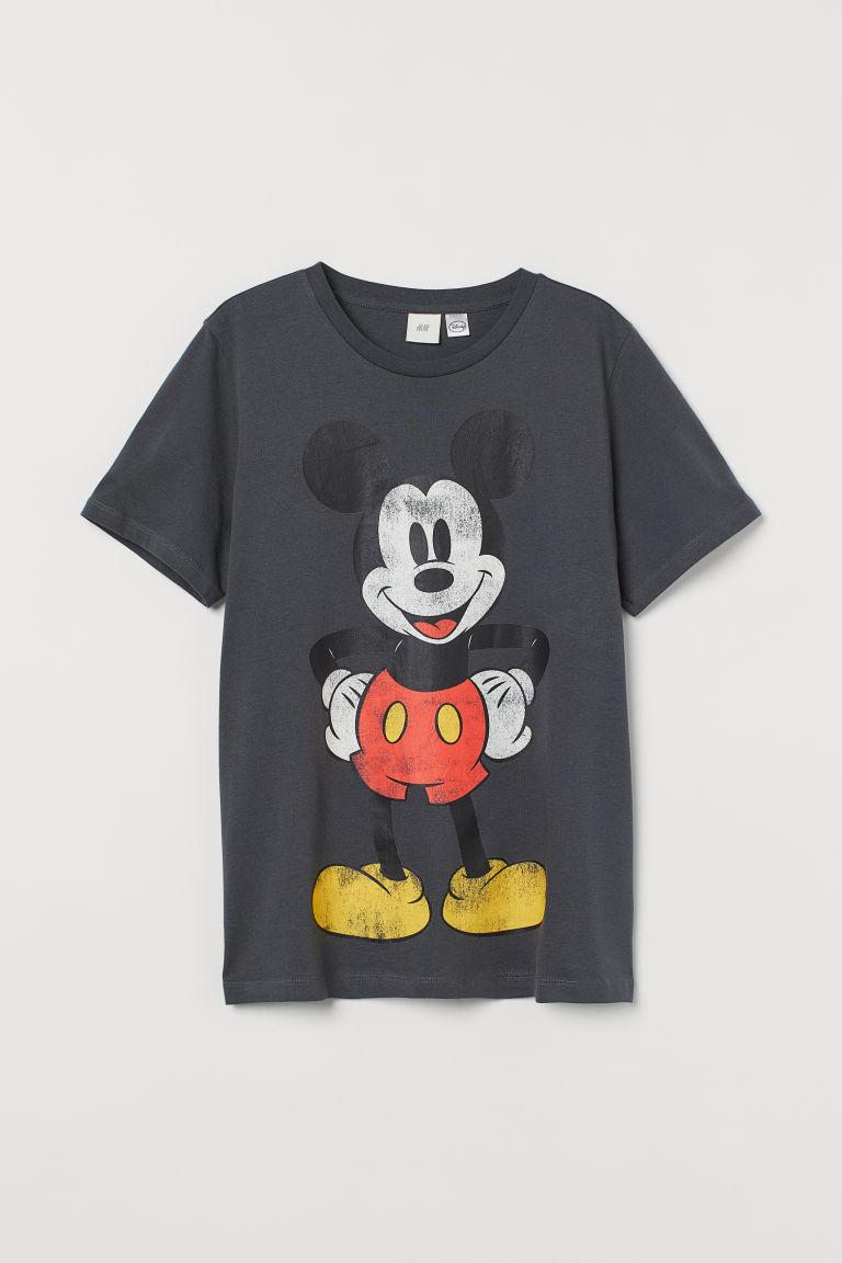 H & M - 圖案T恤 - 灰色