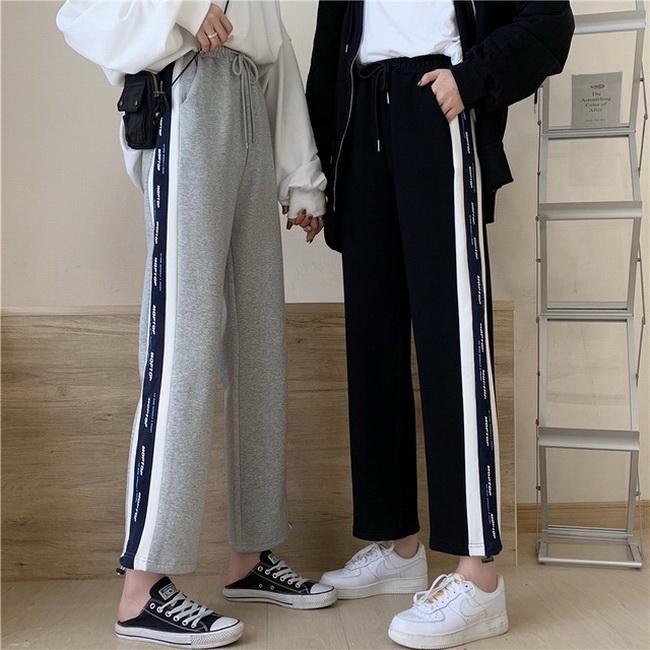 FOFU-棉夏裝薄款灰色運動褲女季寬鬆束腳褲闊腳褲【08SG06958】
