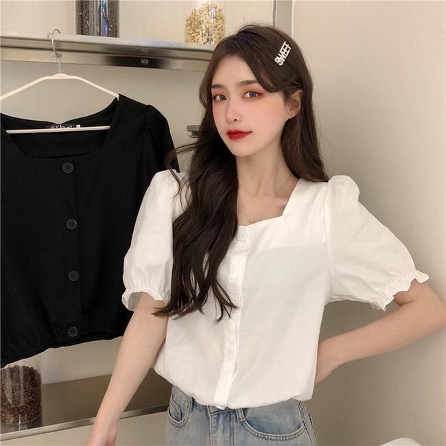 FOFU-法式泡泡袖方領設計款設計感白色短版襯衫【08SG06954】