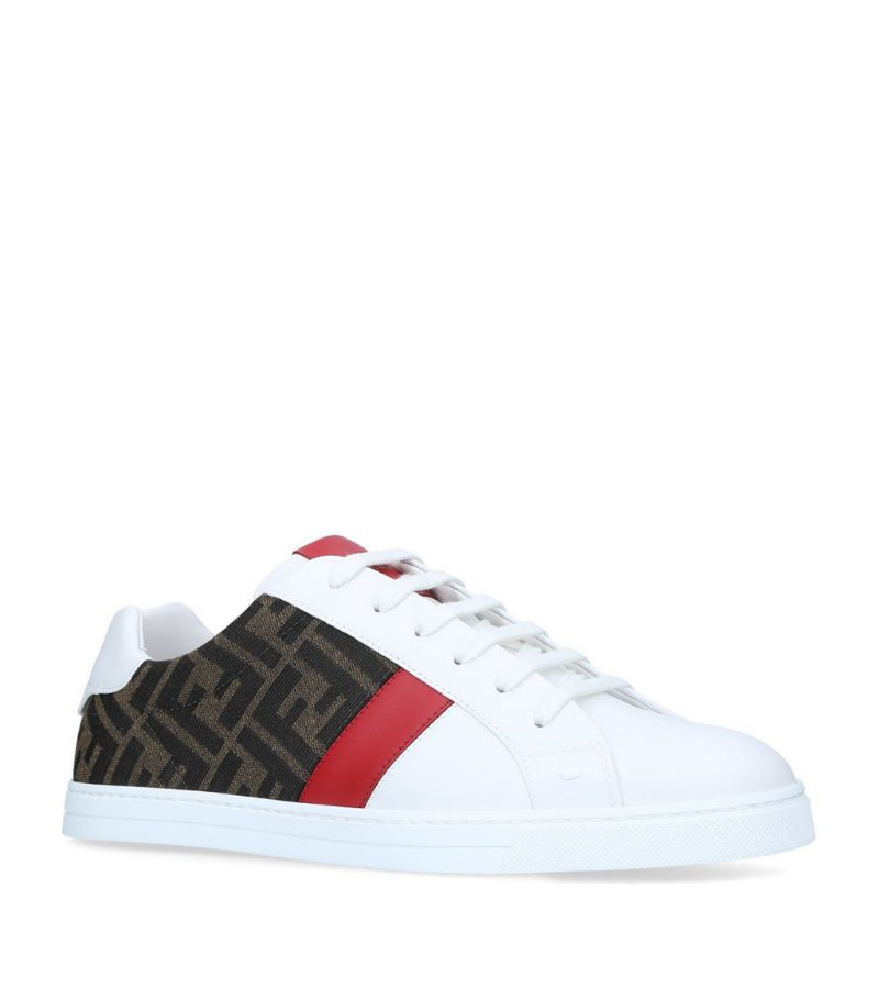 Fendi Leather Logo Stripe Sneakers