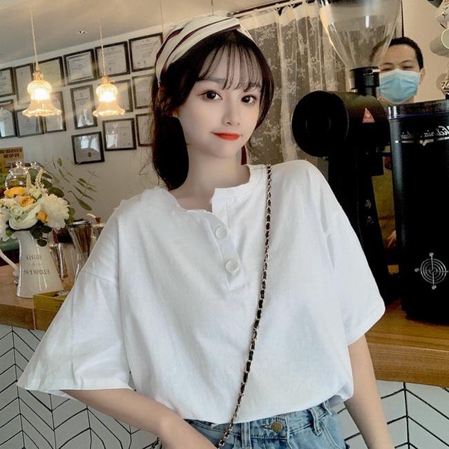 FOFU-彈性棉短袖t恤女設計感不規則開叉上衣【08SG06750】