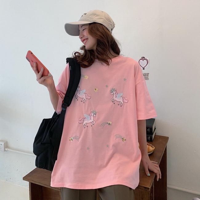 FOFU-彈性棉短袖t恤女中長款半袖卡通上衣刺繡【08SG06778】