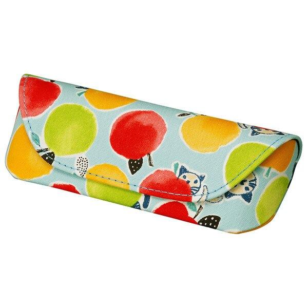 【日系】貓與蘋果眼鏡收納盒 (天藍) 手繪水彩風  磁吸盒 日本島內販售 母親節禮物