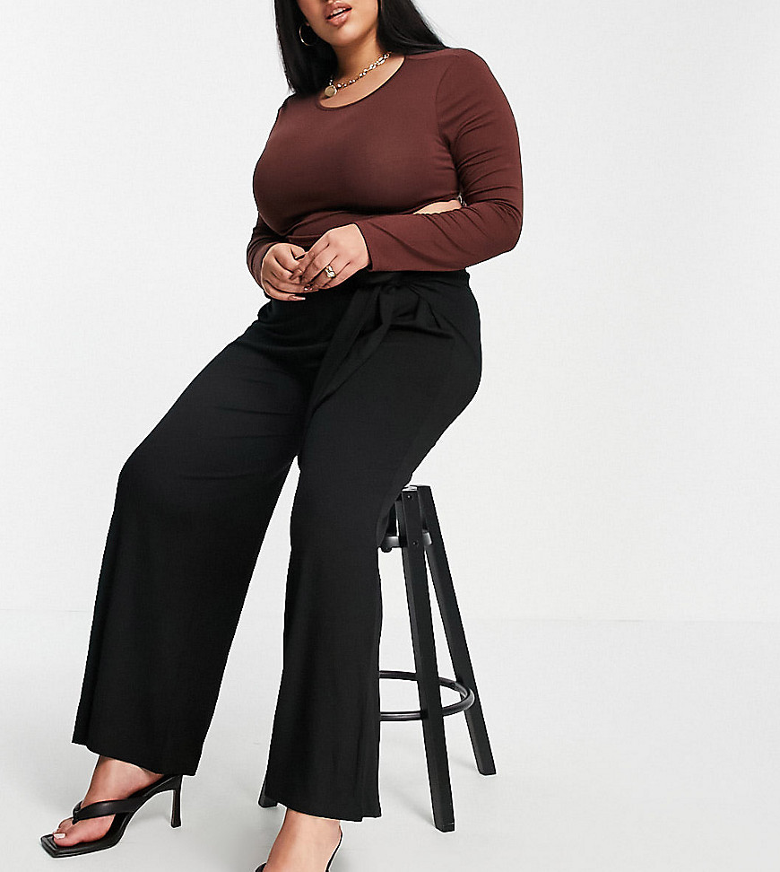 Yours Exclusive tie waist wide leg trousers in black