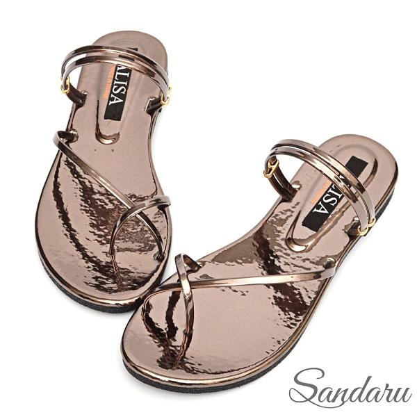 涼鞋 超亮眼交叉夾腳兩穿平底拖鞋-鐵灰