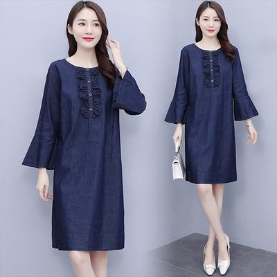 【韓國K.W.】(預購)輕美學藍色文藝洋裝(共1色)