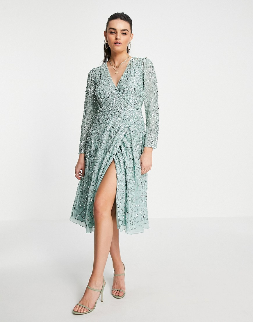 Maya embellished mini wrap midi dress in mint-Green