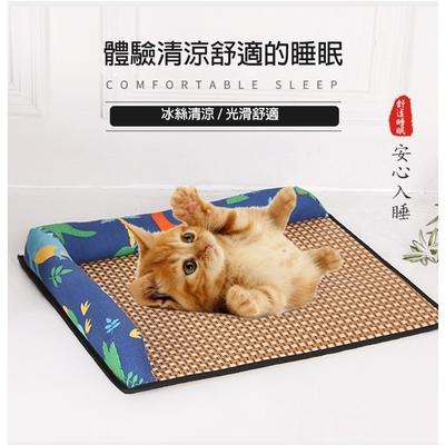 寵愛有家-夏季寵物降溫草蓆L型涼墊-M