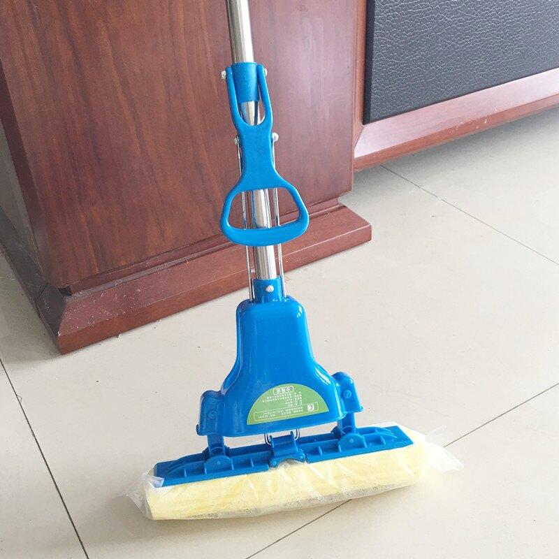 惠萬居不銹鋼桿膠棉拖把對折擠水拖把吸水拖把海綿拖