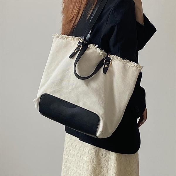 托特包 小眾時尚春夏撞色大容量帆布包側背腋下包休閒簡約手提包托特包女  美物 99免運