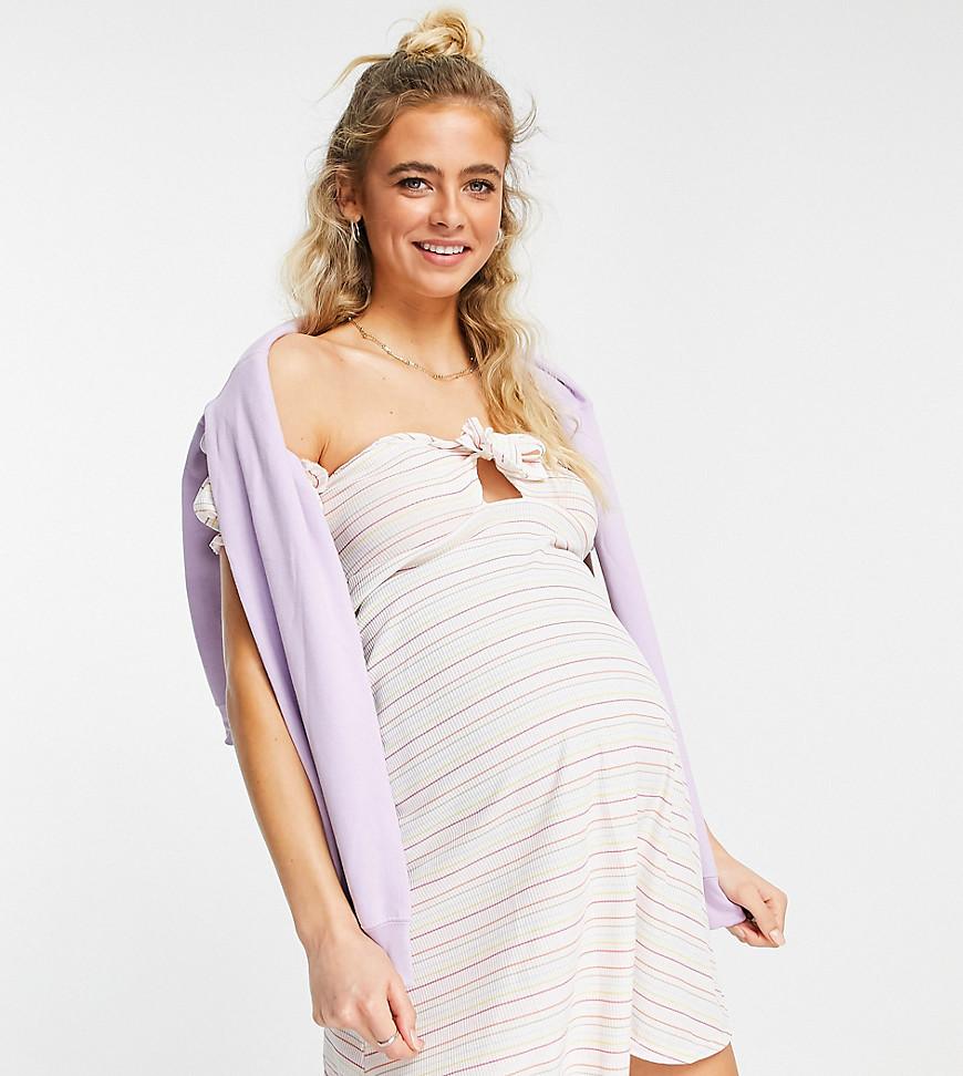 ASOS DESIGN Maternity mini ribbed bardot sundress in rainbow stripe-Multi