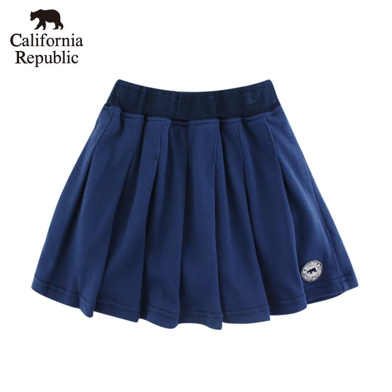 CALIFORNIA 小熊圓標素面百折褲裙(女童)