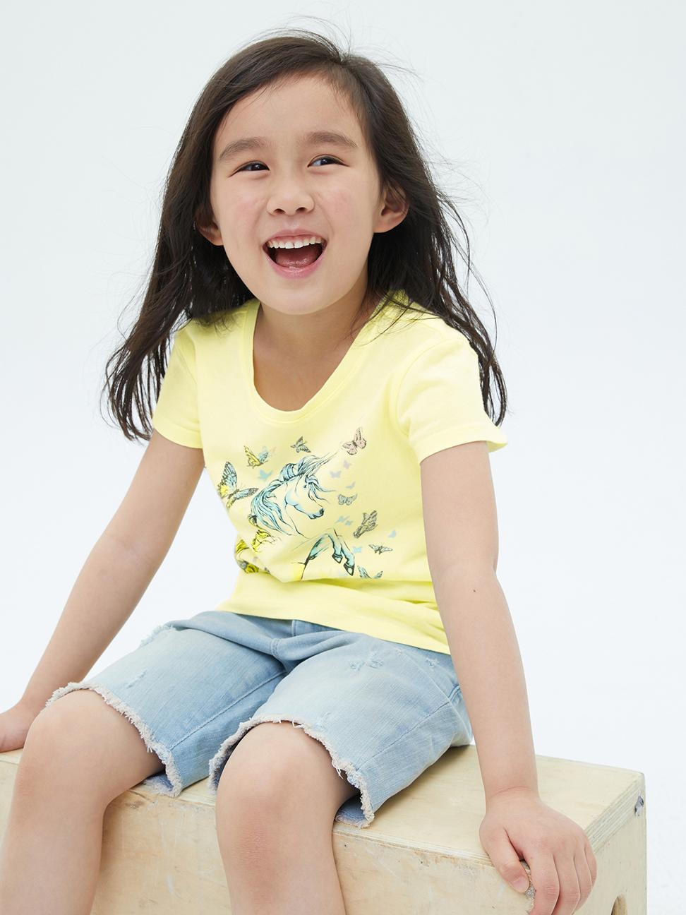 女童 可愛純棉印花短袖T恤