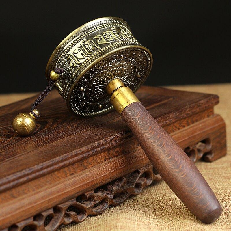 佛學院專用 純銅黃銅手搖轉經輪經筒 超靜音  3萬遍經典小號