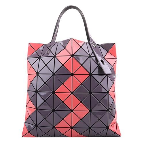 BAOBAO-雙拚色幾何方格6x6手提包(橘粉x炭灰)亮面