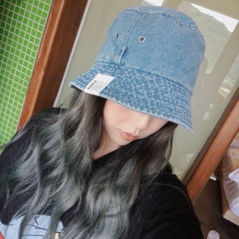 [MUSI創意玩星球] 水洗牛仔仿舊漁夫帽子女帽韓國軟版百搭時尚遮陽帽日系休閒學生盆帽子