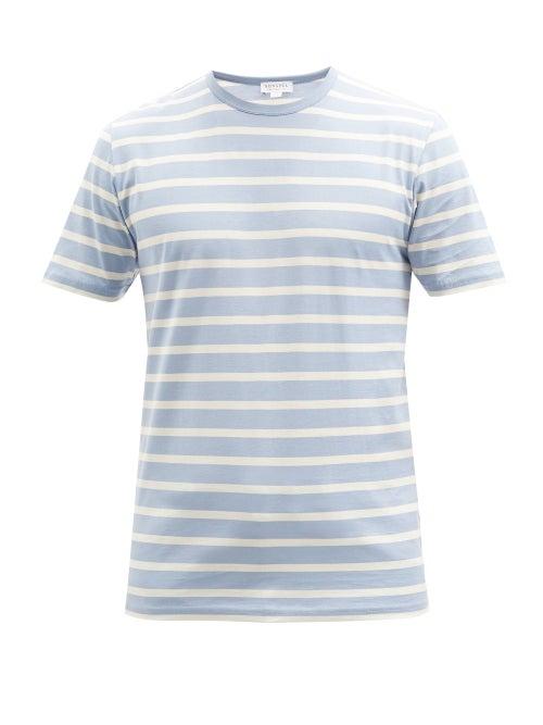 Sunspel - Striped Supima Cotton-jersey T-shirt - Mens - Light Blue