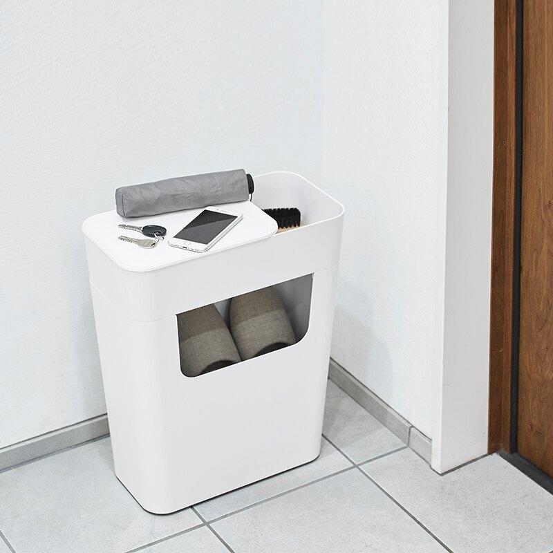 进口床头柜卧室收纳箱塑料客厅边桌带轮整理箱零食收纳盒