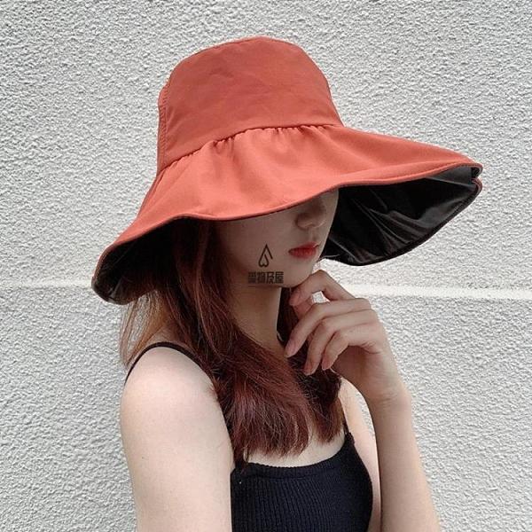 日本UV防曬帽女韓版大檐漁夫帽防紫外線遮陽夏季黑膠遮臉太陽帽子【愛物及屋】