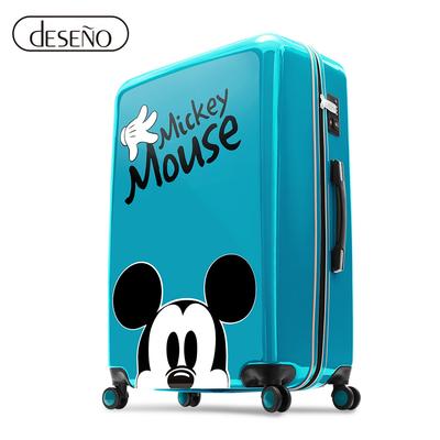 Disney 米奇奇幻之旅 20吋PC鏡面拉鍊行李箱-湖水藍
