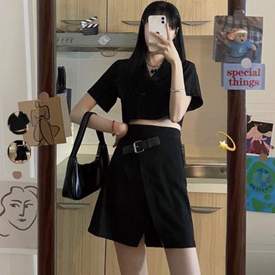 性感v領短款襯衫|高腰開叉短裙【008452BAAF】
