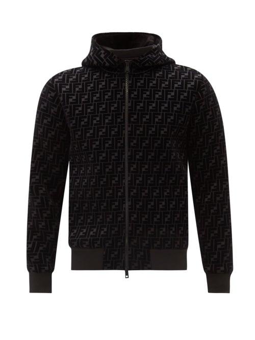 Fendi - Ff-flocked Jersey Hooded Track Jacket - Mens - Black Multi